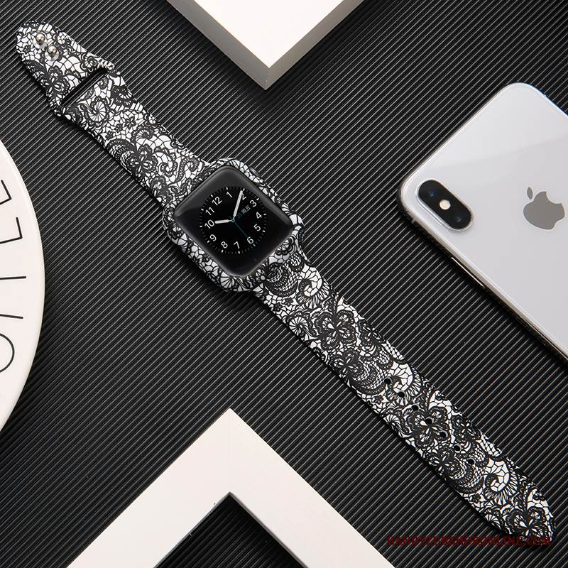 Case Apple Watch Series 1 Silikon Bedrucken Schwarz, Hülle Apple Watch Series 1 Schutz Trendmarke