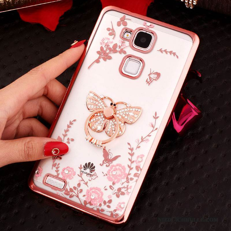 Case Huawei Ascend Mate 7 Strass Rosa Ring, Hülle Huawei Ascend Mate 7 Silikon Transparent Anti-sturz