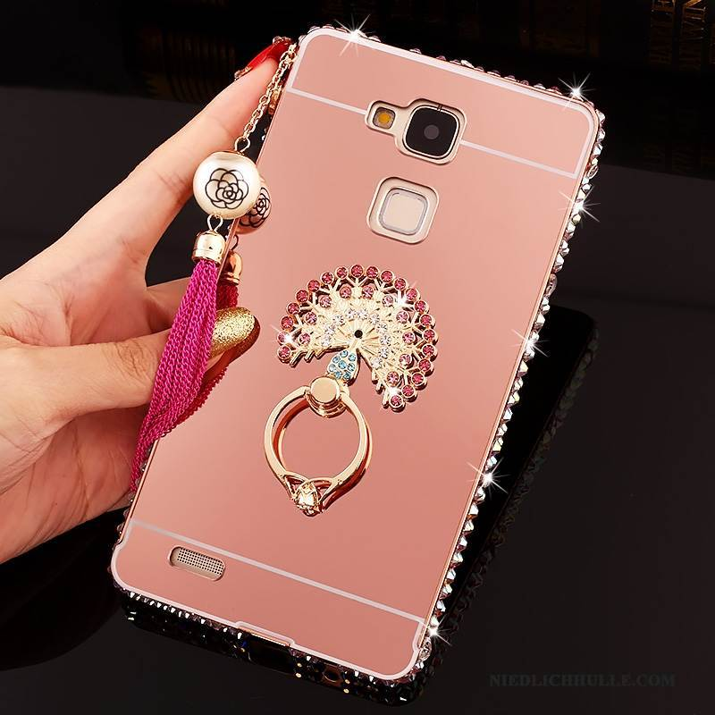 Case Huawei Ascend Mate 7 Strass Spiegel Rosa, Hülle Huawei Ascend Mate 7 Schutz Schwer Trend