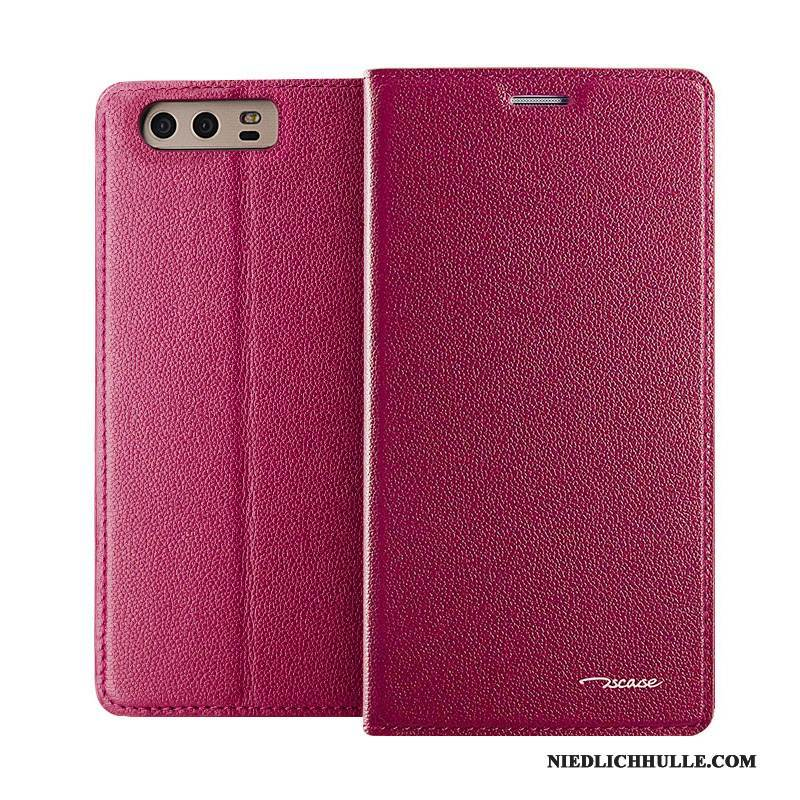Case Huawei P10 Plus Folio Anti-sturz Business, Hülle Huawei P10 Plus Leder Rot Europa