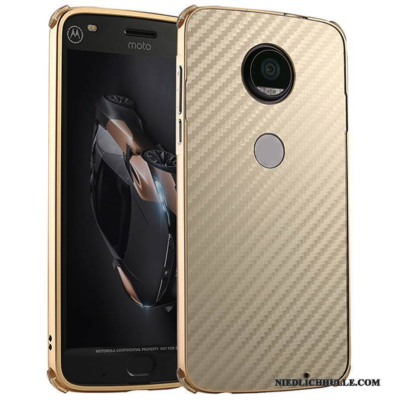 Case Moto Z2 Play Metall Handyhüllen Anti-sturz, Hülle Moto Z2 Play Schutz Grenze Gold