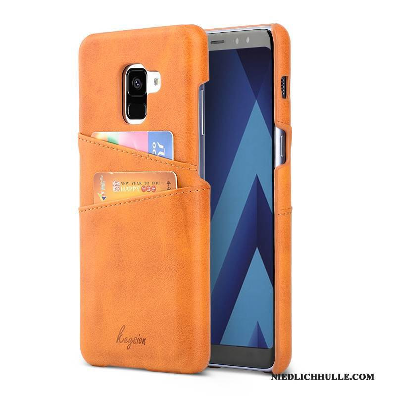 Case Samsung Galaxy A8+ Geldbörse Orange Karte, Hülle Samsung Galaxy A8+ Leder Business Handyhüllen