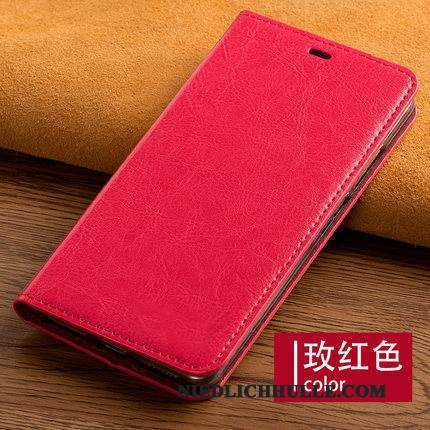 Case Samsung Galaxy A8+ Lederhülle Business Angepasst, Hülle Samsung Galaxy A8+ Folio Anti-sturz Rot