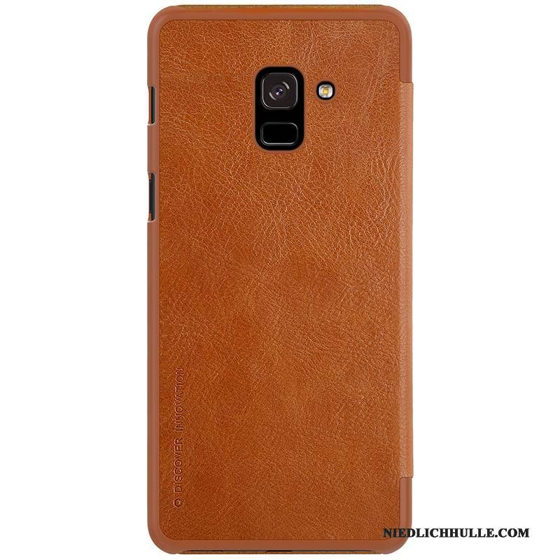 Case Samsung Galaxy A8+ Lederhülle Gold Handyhüllen, Hülle Samsung Galaxy A8+ Folio Orange