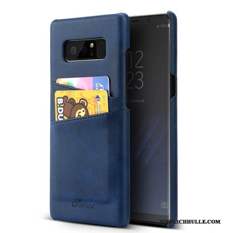 Case Samsung Galaxy Note 8 Leder Business Anti-sturz, Hülle Samsung Galaxy Note 8 Geldbörse Dunkelblau Karte