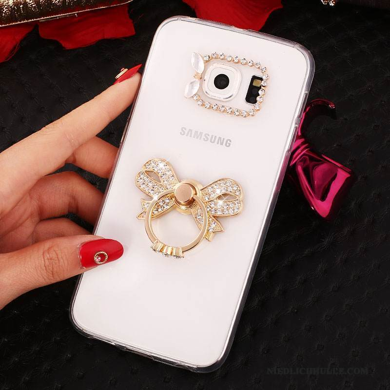 Case Samsung Galaxy S6 Edge + Strass Gold Ring, Hülle Samsung Galaxy S6 Edge + Halterung