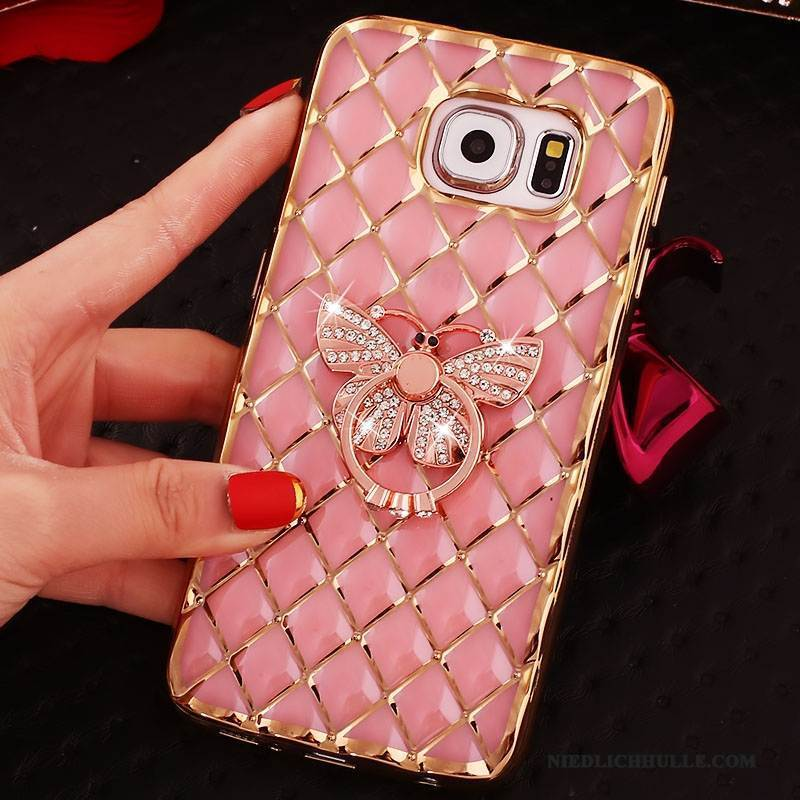 Case Samsung Galaxy S6 Edge + Strass Ring Rosa, Hülle Samsung Galaxy S6 Edge + Silikon