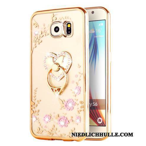 Case Samsung Galaxy S6 Edge + Weiche Gold Transparent, Hülle Samsung Galaxy S6 Edge + Schutz
