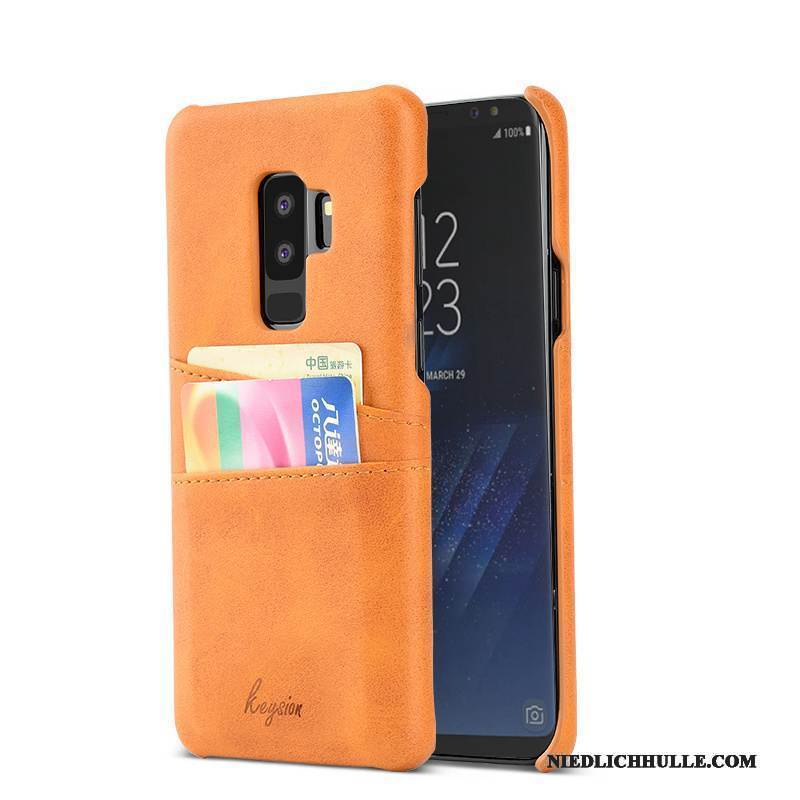 Case Samsung Galaxy S9+ Leder Orange Anti-sturz, Hülle Samsung Galaxy S9+ Mode Business Handyhüllen