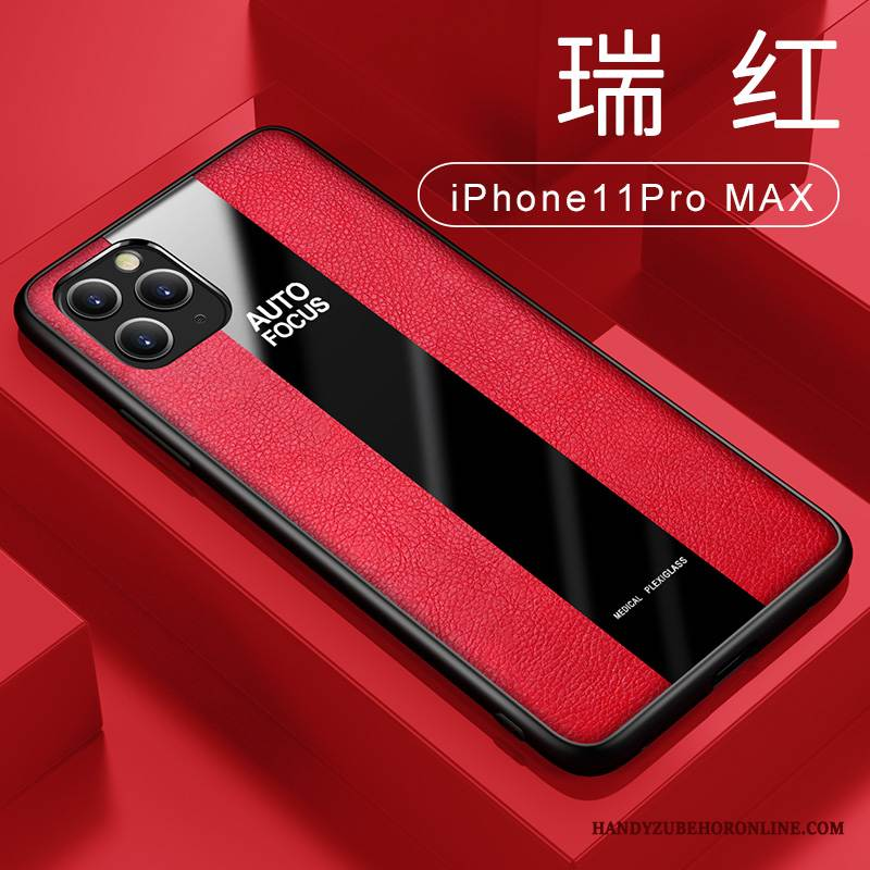 Case iPhone 11 Pro Max Taschen Rot Business, Hülle iPhone 11 Pro Max Lederhülle Handyhüllen Ring