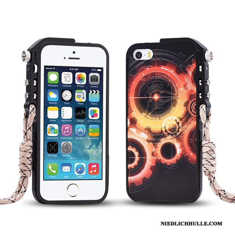 Case iPhone 5/5s Metall Grenze Schwarz, Hülle iPhone 5/5s Schutz Trend Handyhüllen