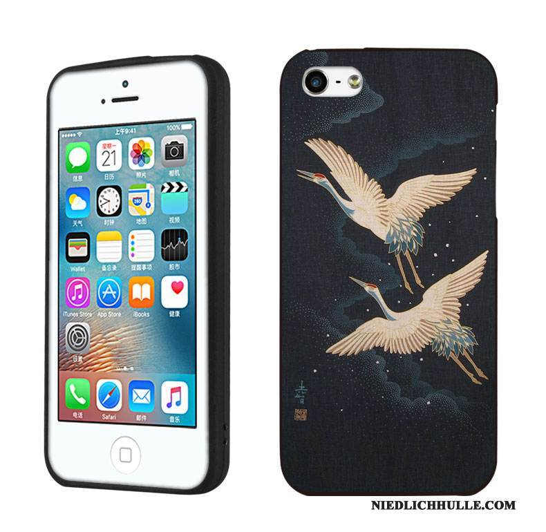 Case iPhone 5/5s Schutz Wind Kran, Hülle iPhone 5/5s Retro Kunst Handyhüllen