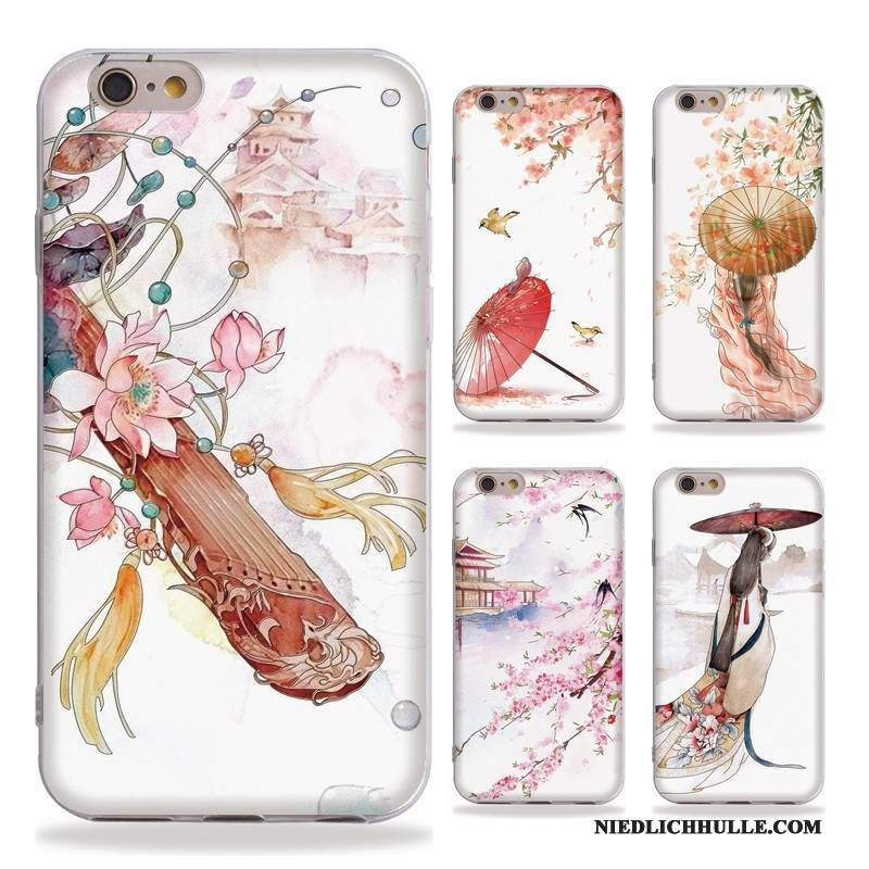 Case iPhone 6/6s Plus Prägung Wind Chinesische Art, Hülle iPhone 6/6s Plus Weiche Kunst Handyhüllen
