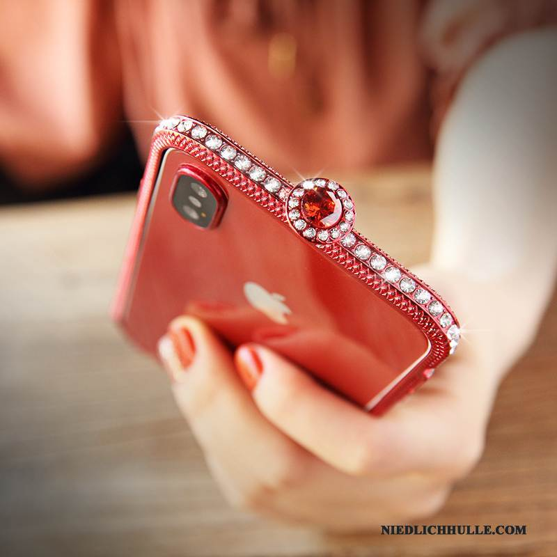Case iPhone X Strass Trend Anti-sturz, Hülle iPhone X Metall Grenze Neu